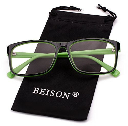 Beison Womens Mens Wayfarer Glasses Frame Nerd Eyeglasses Clear Lens (Black / Green, - Stylish Glasses Black
