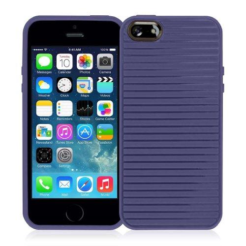 EMPIRE GRUVE Full Protecteur TPU Case Étui Coque for Apple iPhone 5 / 5S - Navy Bleu (Films de prote
