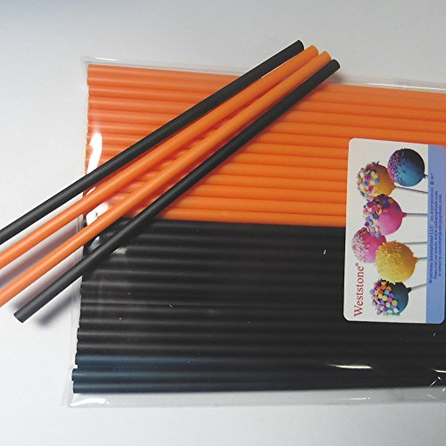 Sweet Creations 04866 100 Count Orange and Black Cake-Pop Sticks, Multicolor