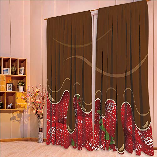 ZHICASSIESOPHIER Print Kids Curtains,Polyester Curtains Panels for Bedroom,Living Room,Melted Chocolate Confectionery Fruit Sweet 84Wx95L Inch
