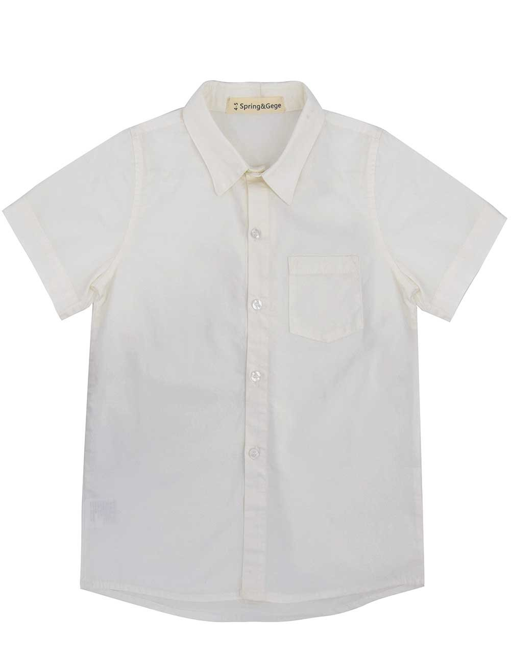 Spring&Gege Boys' Short Sleeve Solid Formal Cotton Twill Dress Shirts Milky White 9-10 Years