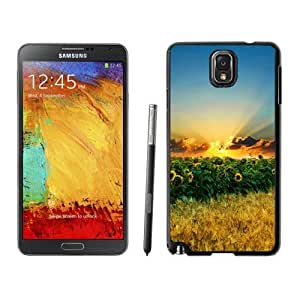 NEW Unique Custom Designed For Case Samsung Galaxy Note 2 N7100 Cover Phone Case With Sunset Over Sunflower Field_Black Phone Case