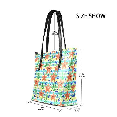 COOSUN Marine Muster mit Starfish und Algen PU Leder Schultertasche Handtasche und Handtaschen Tasche für Frauen