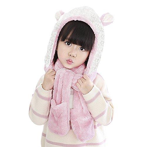 Kids Soft Plush Faux Fur Animal Hat Scarf Mitten Combo Neckwarmer Hoods Gloves Scarf Gift for Girls Pink