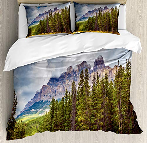Ambesonne Landscape Duvet Cover Set King Size, Rocky Mountains Majestic Look Canada Evergreen Aspen Trees Autumn Nature Outdoor, Decorative 3 Piece Bedding Set with 2 Pillow Shams, ()