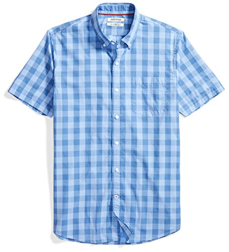 (Goodthreads Men's Slim-Fit Short-Sleeve Gingham Plaid Poplin Shirt, Blue/Blue, X-Large)