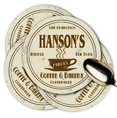 HANSON'S Coffee Shop & Bakery Coasters - Set of 4