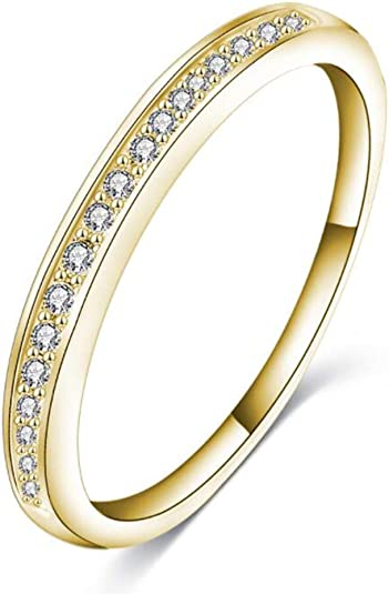 10k or 14k Real Yellow Gold White CZ Cute Sleek Ladies Band Ring
