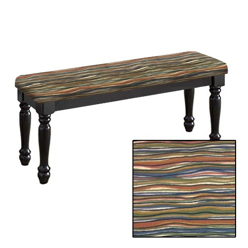 Traditional Farmhouse Style Dining Bench with Black Legs and a Padded Seat Cushion Featuring Your Favorite Novelty Themed Fabric Covered Bench Top (Southwest Wavy) by The Furniture Cove