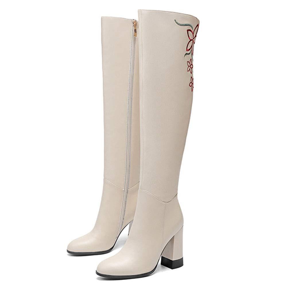 GZZ Schuhe Damen Martin Stiefel Herbst Winter Leder High-Heel Stiefeletten Warm,Weiß-39