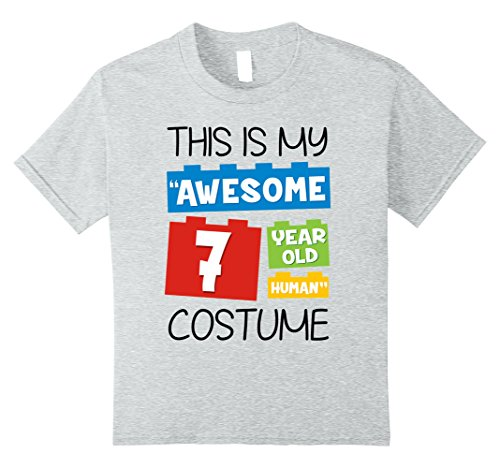 Kids 'Awesome 7 Year old Human' Halloween Costume T-shirt 10 Heather Grey