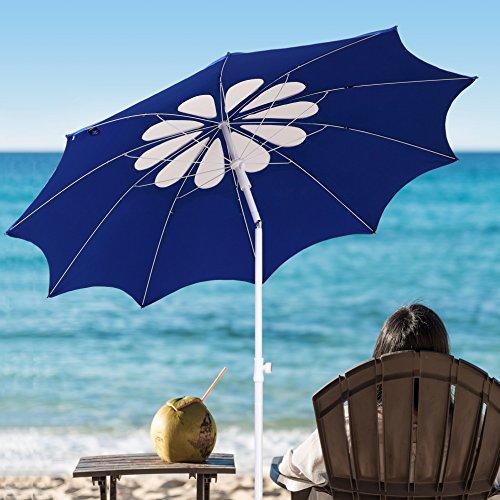 AMMSUN 2017 7ft Beach Patio Heavy Duty Umbrella 10 panels UPF 50+ Deluxe Flower Hollow Design with Tilt White/blue color