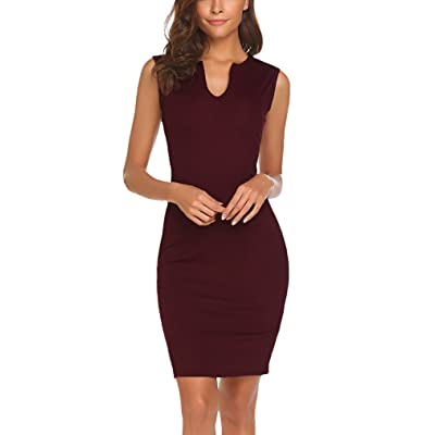 Naggoo Women's Business Wear to Work Sleeveless V Neck Bodycon Pencil Dress at Women's Clothing store