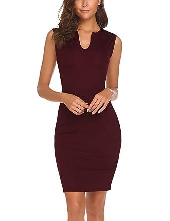Naggoo Women s Business Wear To Work Sleeveless V Neck Bodycon Pencil Dress 2dbb7b24e