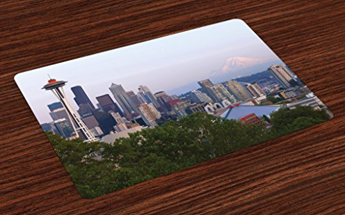 Lunarable Seattle Place Mats Set of 4, Downtown City Photograph with Mount Rainer at The Sunset Touristic Attractions, Washable Fabric Placemats for Dining Room Kitchen Table Decor, Ceil Blue
