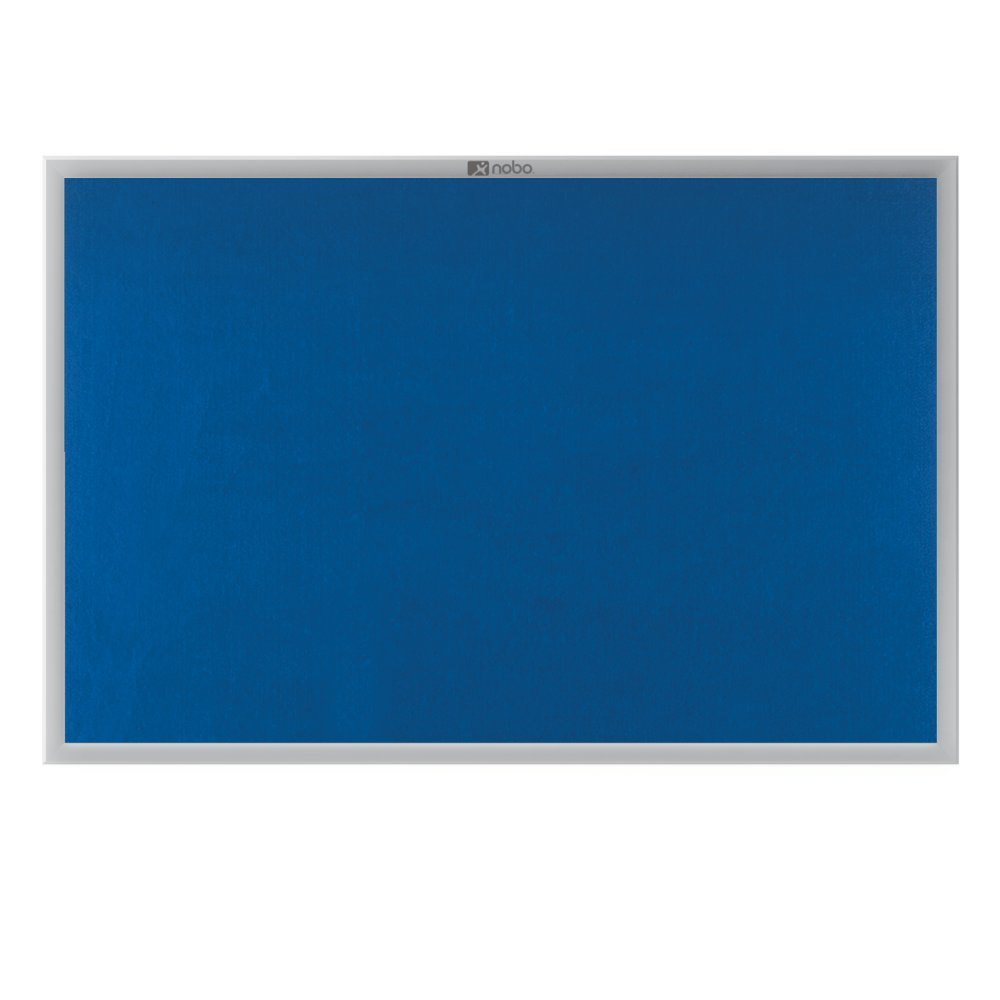 1200 x 900 mm Nobo EuroPlus Felt Noticeboard with Fixings and Aluminium Frame Blue