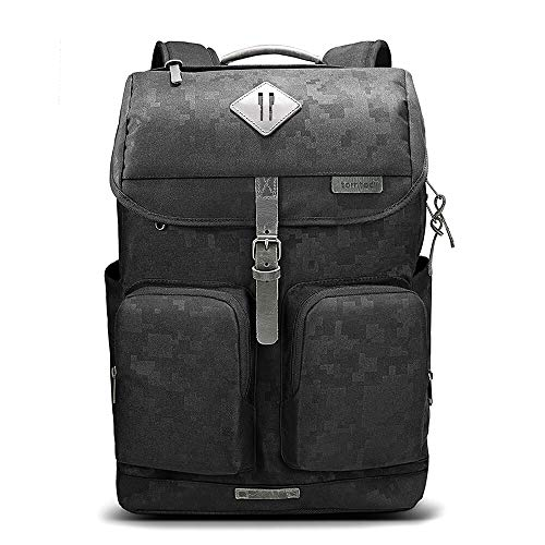tomtoc Vintage Travel Backpack Business Durable Laptops Backpack with Charge Port, Waterproof Computer Book Bag for Women Men Fits up to 15.6 Laptop Notebook 10.5 iPad