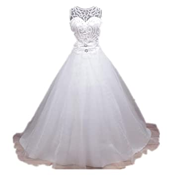 49b57aba Women's Sparkly Ball Gown Organza Beads Wedding Gown at Amazon Women's  Clothing store:
