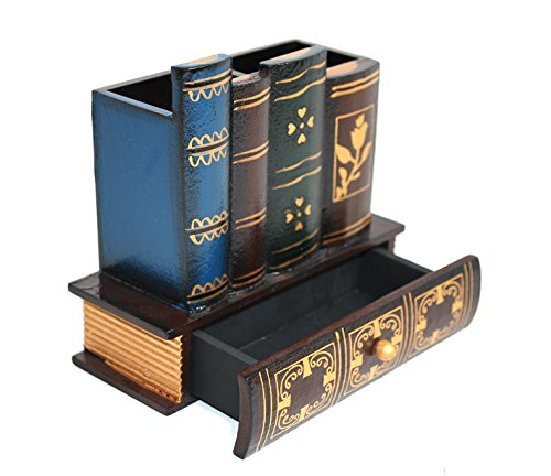 Decorative Library Books Office Accessories Supply Caddy Pencil Holder Desk Organizer with Bottom Drawer Stationary Product Organization Pen Holders Table Top Organizers Stationery Storage