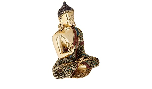 Idol Collections Abhaya Buddha Brass Statue Multicolor Anonymous Artist VZM033