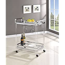 Coaster Contemporary Serving Cart with Acrylic Legs