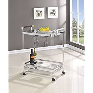 Coaster Home Furnishings 3-Wine-Rack Serving Cart Chrome