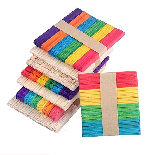 Moonnight Store 12000pcs/lot Colored Wooden Popsicle Sticks Natural Wood Ice Cream Sticks Kids DIY Hand Crafts Art Ice Cream Lolly Cake Tools (Wood)