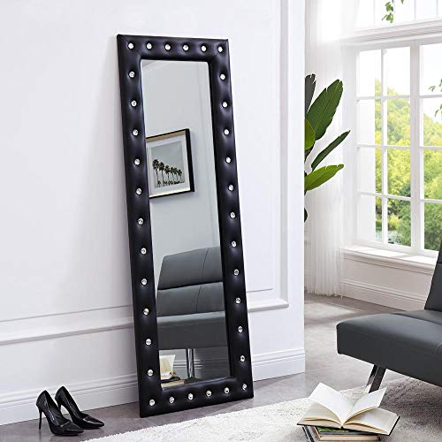 (Naomi Home Crystal Tufted Mirror Black )