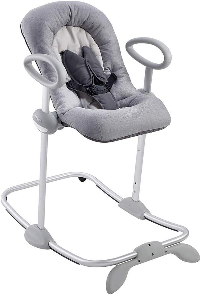 Béaba Up & Down III Hamaca Hamaca para bebés y niños, Altura ajustable, Función balancín y 4 alturas diferentes, Unisex para niños, Ergonómica y segura, Gris