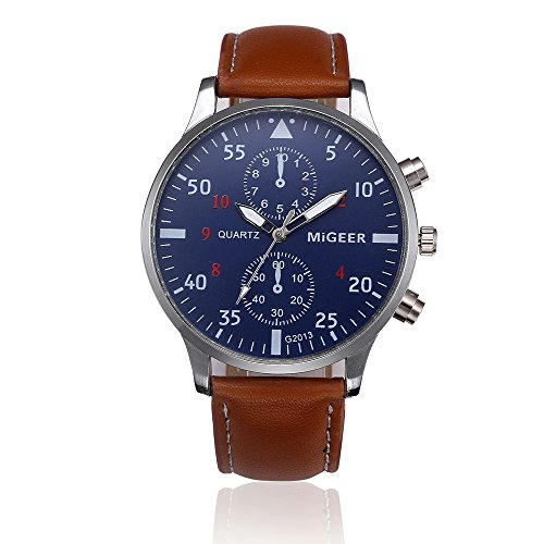 Men Quartz Watch,Hotkey Men's Retro Design Analog Alloy Quartz Wrist Watch Waterproof Unique Business Casual Fashion Watch,PU Leather Band,Alloy Case CS-3162 (Brown) by Hotkey® (Image #1)