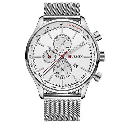 (CURREN Watches Mens Brand Luxury Stainless Steel Quartz Watch Men Casual Waterproof Clock Men Sport Wristwatch (Silver White))