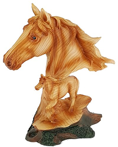 Yankee Forge Carved Wood Look HORSE HEAD BUST WITH FOAL Resin Sculpture/Statue PDJ985 -