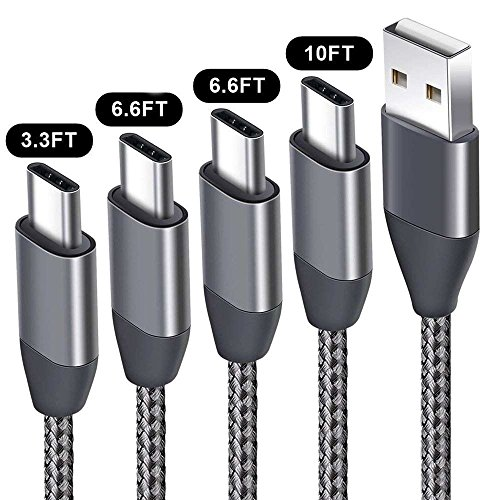 USB C Cable 3.3FT 6.6FTx2 10FT 4Pack,USB A 2.0 to Type C Charger Nylon Braided Charging Cord fit Samsung Galaxy S9 S8 Plus S9+ S8+ Note 9 8 LG V30 V20 G6 G5 Google Pixel 2 XL Moto Z Z2 Nintendo Switch