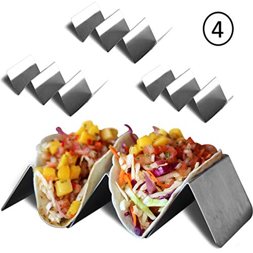 Taco Holder Stand - Stainless Steel - 4 pack - Each Holds Up To 3 Small or Large Soft or Hard Tacos - Taco Truck Tray Style ()