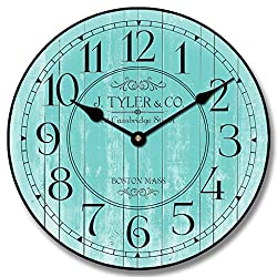 Harbor Turquoise Wall Clock, Available in 8 Sizes, Most Sizes Ship The Next Business Day, Whisper Quiet.