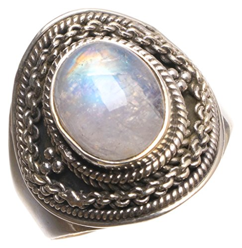 (Natural Rainbow Moonstone Handmade Unique 925 Sterling Silver Ring, Size 8 U1494)