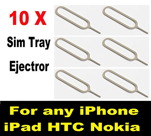 Pack of 10 SIM Card Tray Open Opener Ejector Eject Pin Removal Remover Key Tool - Compatible for All Apple Phones iPad iPhone 2G 3G 3GS 4 4S 5 5C 5S 6 6 Plus 6S 6S Plus (10 Pack Eject Pin)
