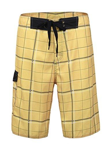 - Nonwe Men's Beachwear Beach Shorts Quick Dry Plaid Pattern Yellow 28