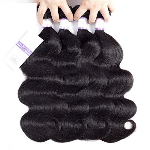 Brazilian Body Wave Hair Bundles 100% Human Hair Weave Natural Color Hair Extension 8-30 Inch Can Buy1 / 3/4 Pcs,10 12 14 14 ()