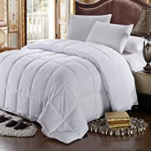 Royal Hotel Collection King/California King Size All Season Solid White Goose Feather-down Comforter 100% Cotton Hypoallergenic, anti-microbial treatment, Duvet insert filled with 76 ounces