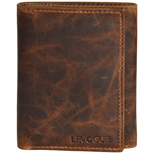 Genuine COW VINTAGE Leather Handmade Mens RFID Blocking Slim Trifold Wallet with 6 Credit Card + 1 ID Window + 2 Note Compartments Wallet LEVOGUE, Cognac Vintage