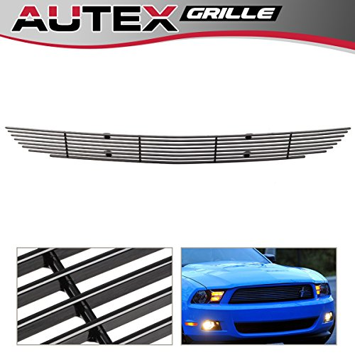 2011 Mustang Billet - AUTEX F66655H Black Horizontal Billet Lower Bumper Grille Insert Compatible with Ford Mustang V6 2010 2011 2012 Grill