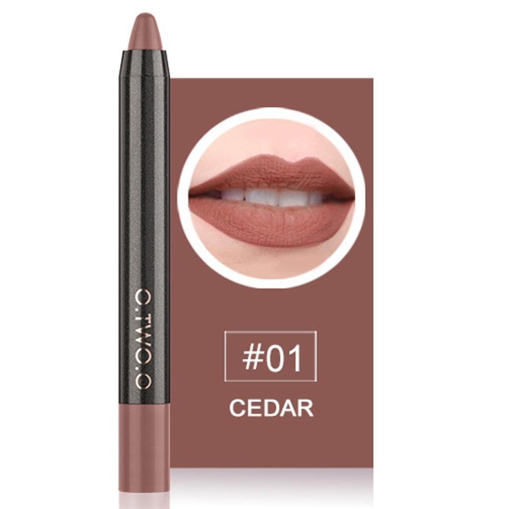ESAILQ 12 Couleurs Long Lasting Lip Pen Matte Lip Gloss Waterproof Cosmetics Lip Liner