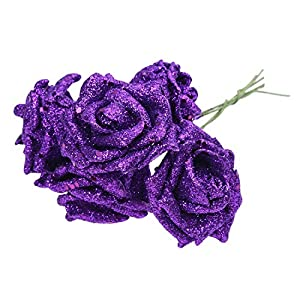 Artificial & Dried Flowers - 7 Foam Rose Artificial Flower Glitter Bridal Bouquet Home Wedding Decoration Purple - Dried Artificial Flowers Artificial Dried Flowers Glitter Rose Flower Foam C 5