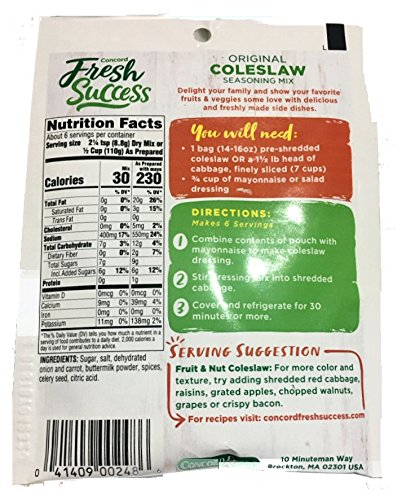Concord foods Coleslaw Mix, 2.5 OZ Pouch