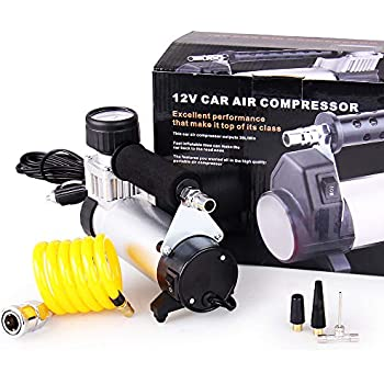 big-autoparts Portable Air Compressor Pump 12V DC 150 PSI Metal Cylinder Car Tire Inflator for Cars Bikes Balls Movable Yellow Pipe