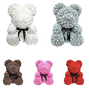 25cm/40cm Romantic Rose Bear with String Lights Animal Teddy Bear Forever Rose Flower Hug Bear Pe Foam Artificial Simulated Flower for Valentines, Wedding, Anniversary 45