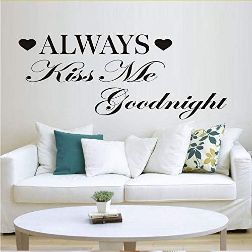 ponana Always Kiss Me Goodnight Wall Stickers for Kids Rooms Wall Decals Vinyl Mural Calligraphy Art Home Decoration Vintage Poster 106X57Cm ()