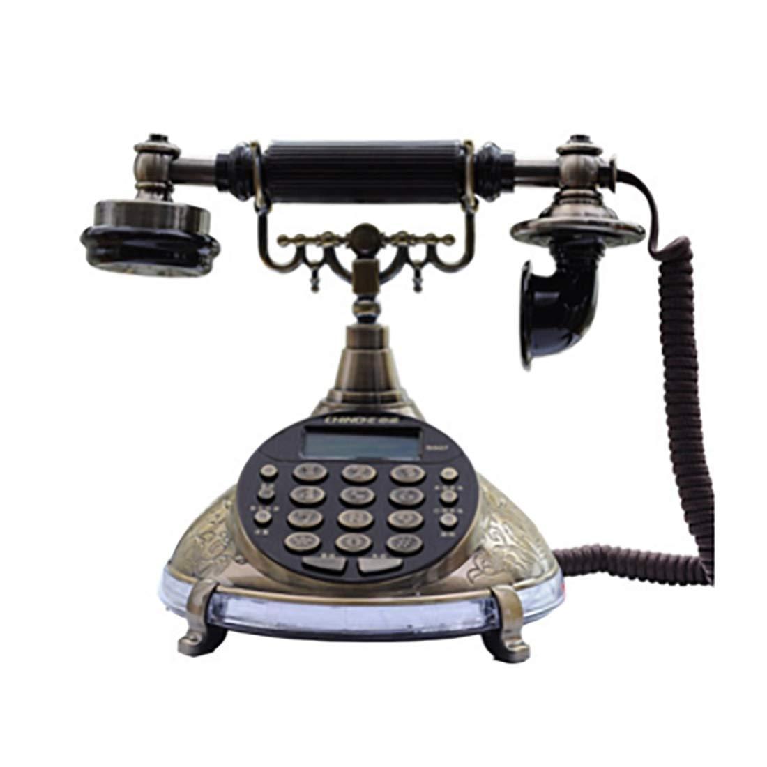 ZHILIAN Classic European Retro Home Phone Landline Fixed Telephone Bronze Fixed Button with Display