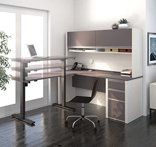 bestar-connexion-l-desk-with-hutch-including-electric-height-adjustable-table-slate-sandstone
